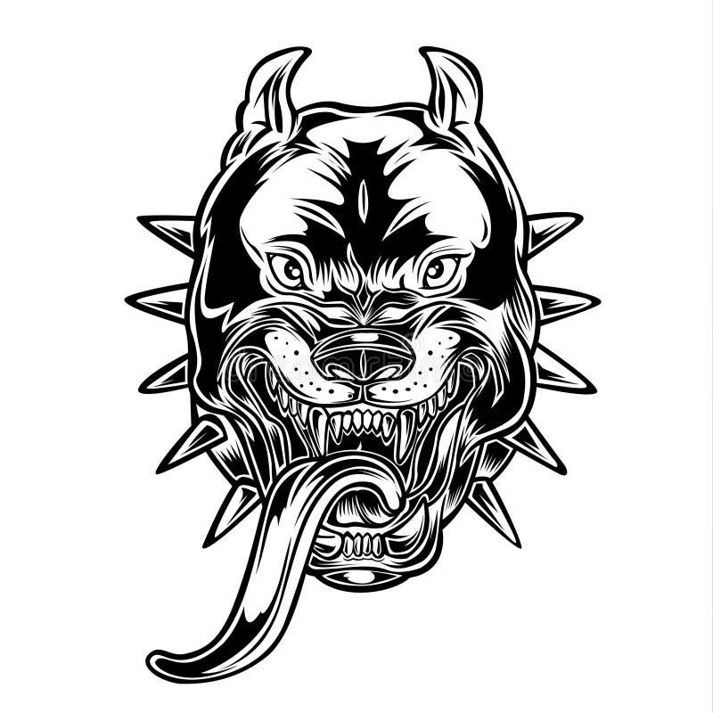 Angry Bulldog Pitbull Head Crazy vector vector illustration