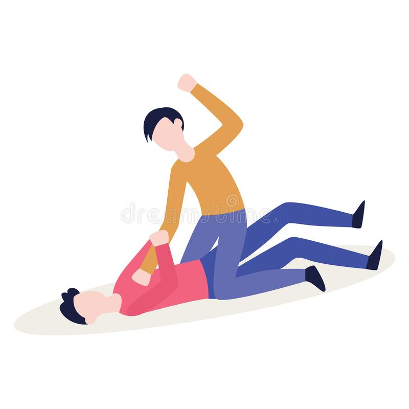 Angry bully beating up a person lying on the ground royalty free illustration