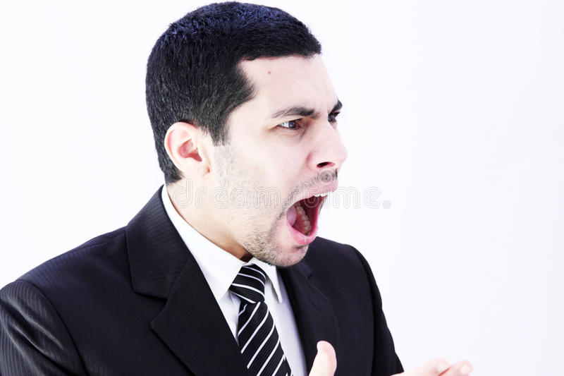 Angry business man screaming royalty free stock images