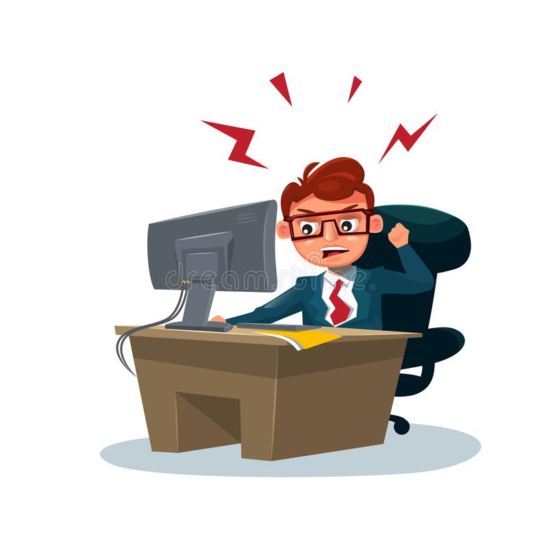 Angry Business Man Working On Computer Sit At Office Desk Over White Background. Flat Vector Illustration stock illustration