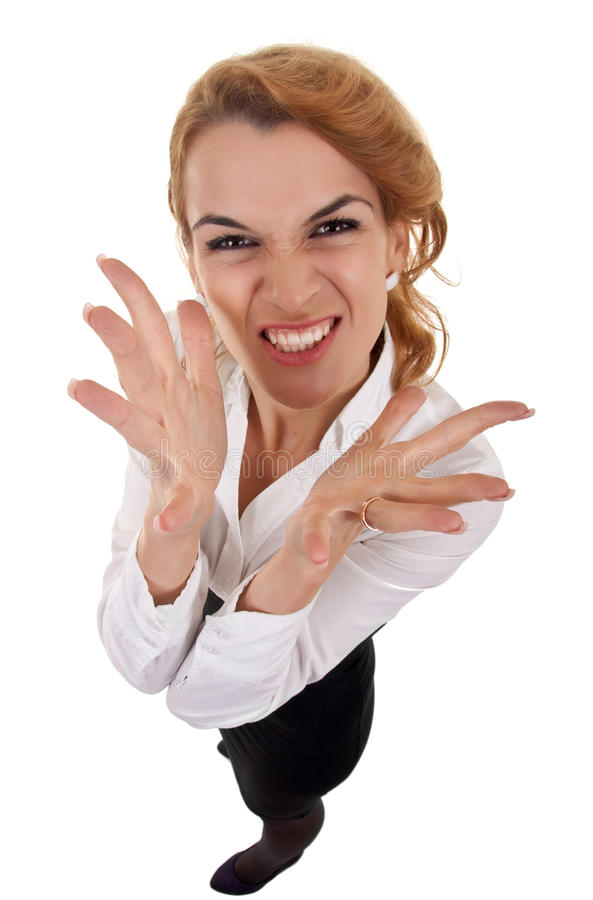 Angry business woman stock image