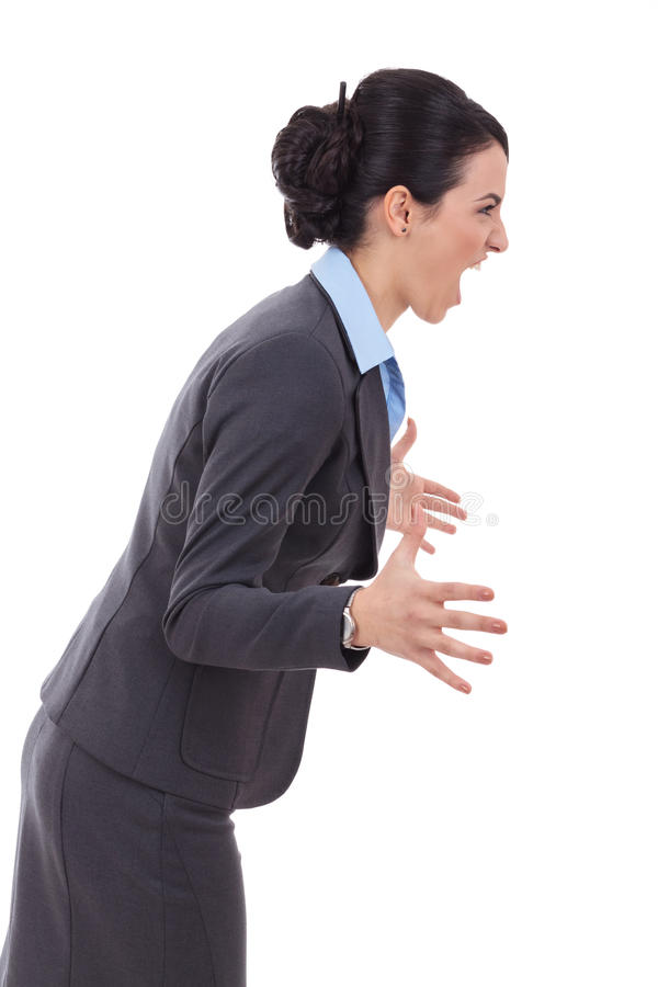 Download Angry Business Woman Screaming To A Side Stock Photo - Image: 28782976