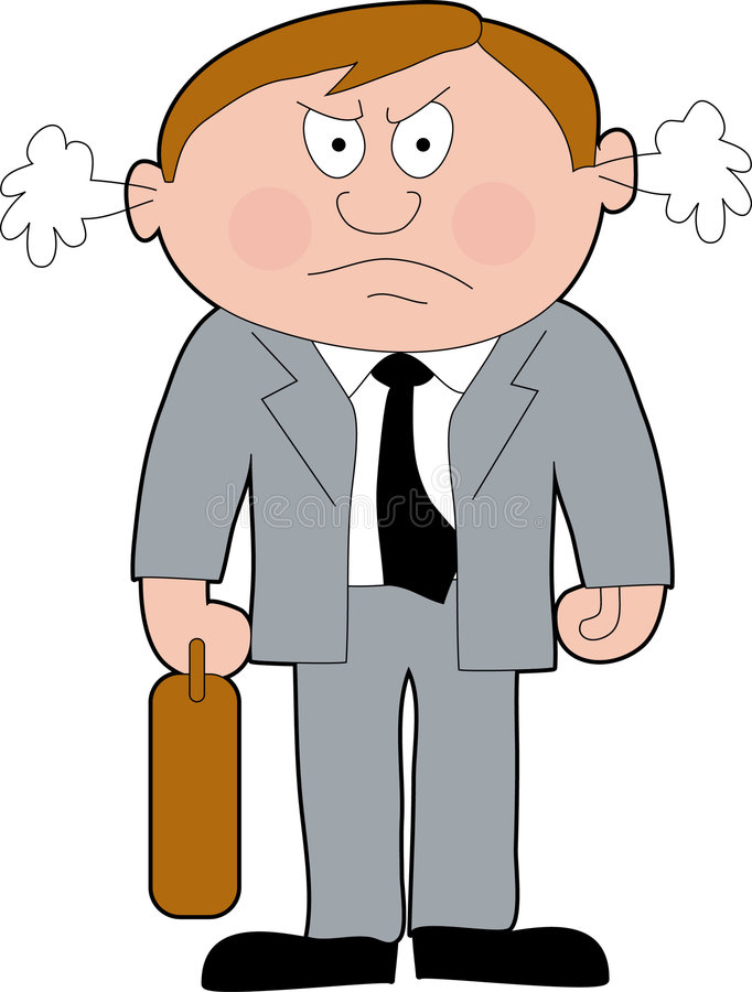 Angry Businessman. Angry business man with attache case royalty free illustration