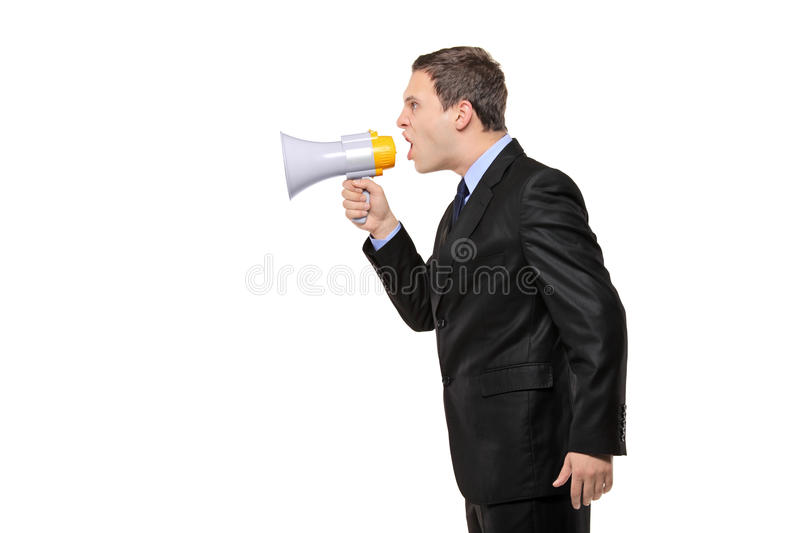Download Angry Businessman Announcing Via Megaphone Royalty Free Stock Photo - Image: 16843795