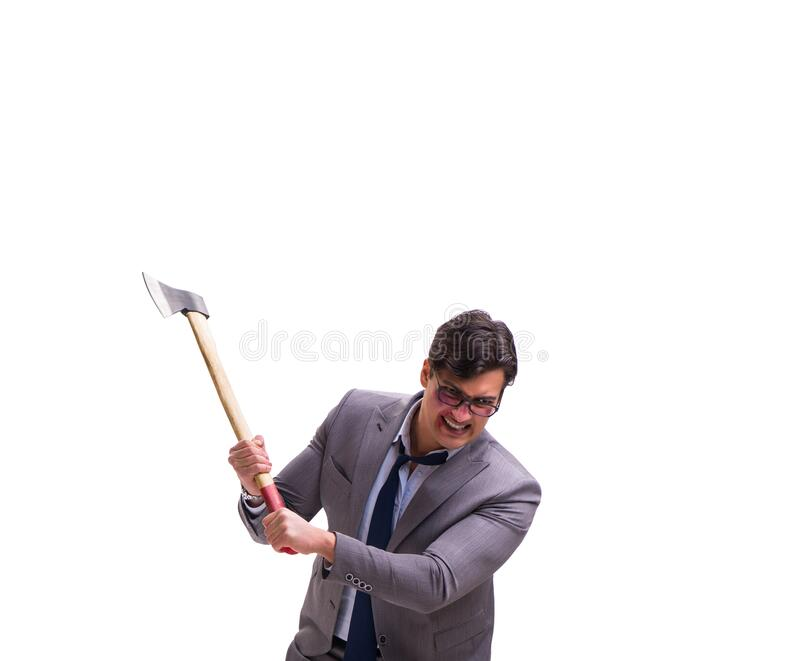 Angry businessman with axe isolated on white. The angry businessman with axe isolated on white royalty free stock photos
