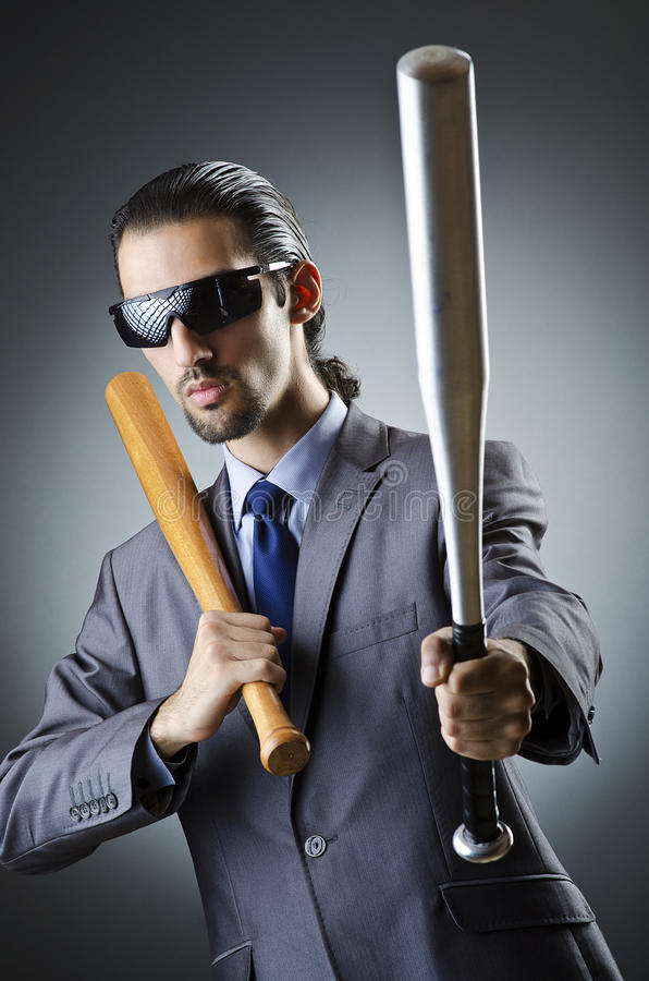 Download Angry businessman with bat stock photo. Image of manager - 26373540