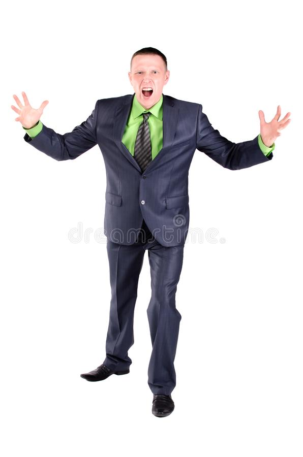 Angry businessman or boss. Angry businessman or boss is scolding isolated on the white background stock photos