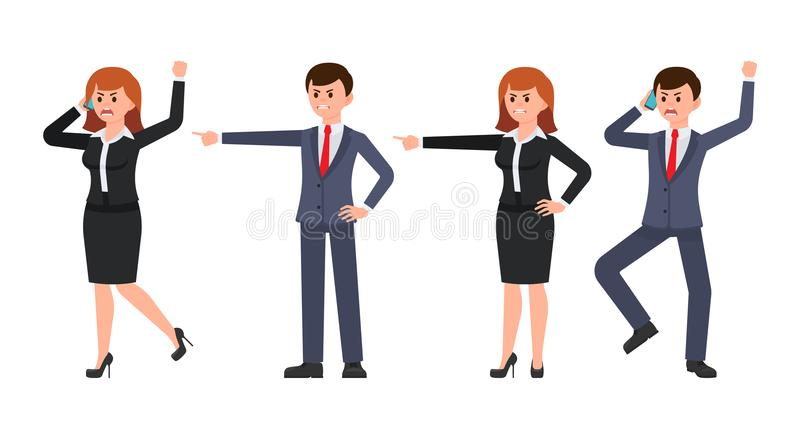 Angry businessman and businesswoman talking on phone and pointing finger. royalty free illustration