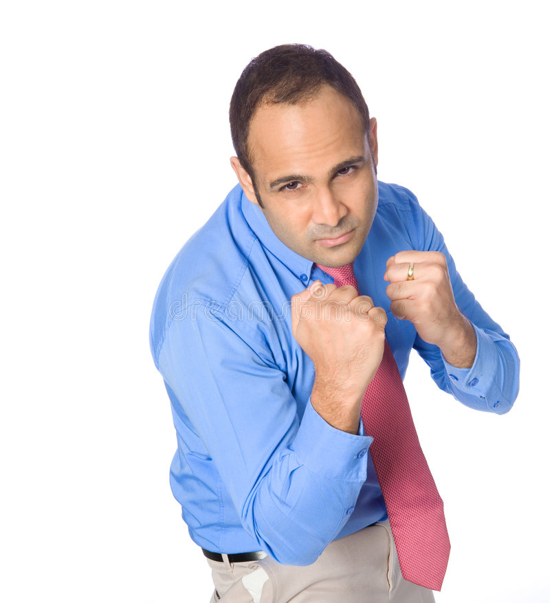 Download Angry Businessman With Fist Ready To Fight. Stock Image - Image: 8608397