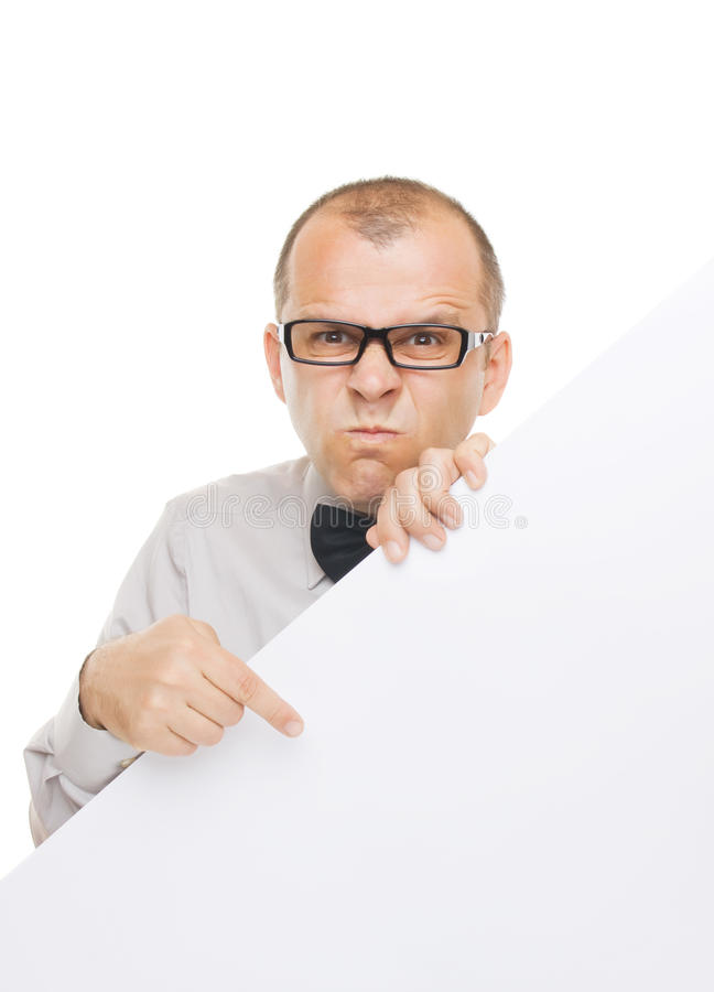 Angry businessman with info board. Isolated on white background stock image
