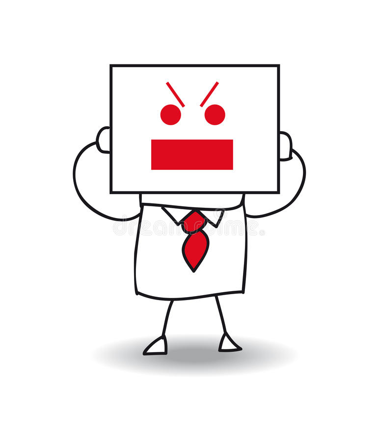 Angry businessman. Joe holds a sheet of paper on which is drawn a angry face. he is not very happy but very nervous, he is anonymous behind this sheet of paper royalty free illustration