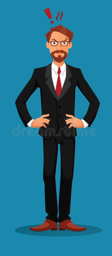 Angry businessman looking straight at the viewer stock image