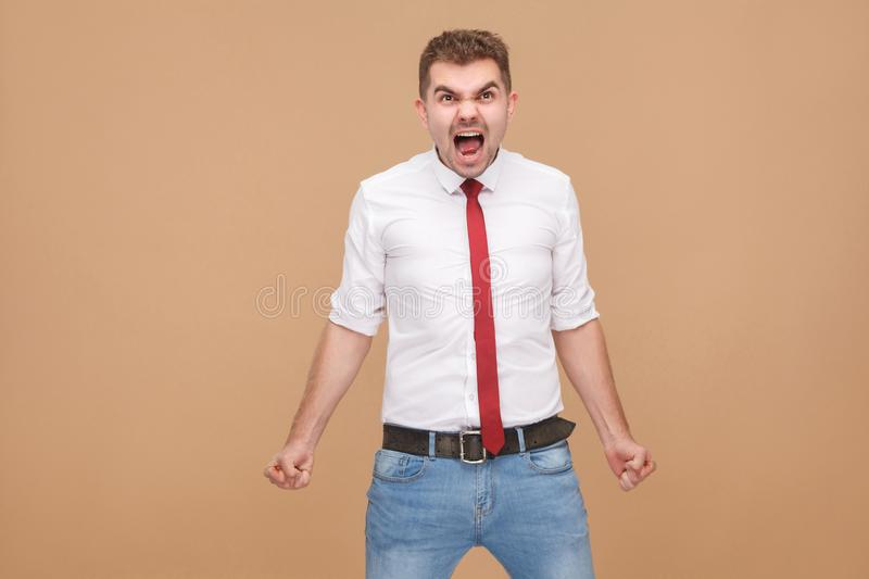 Angry businessman roar royalty free stock photos