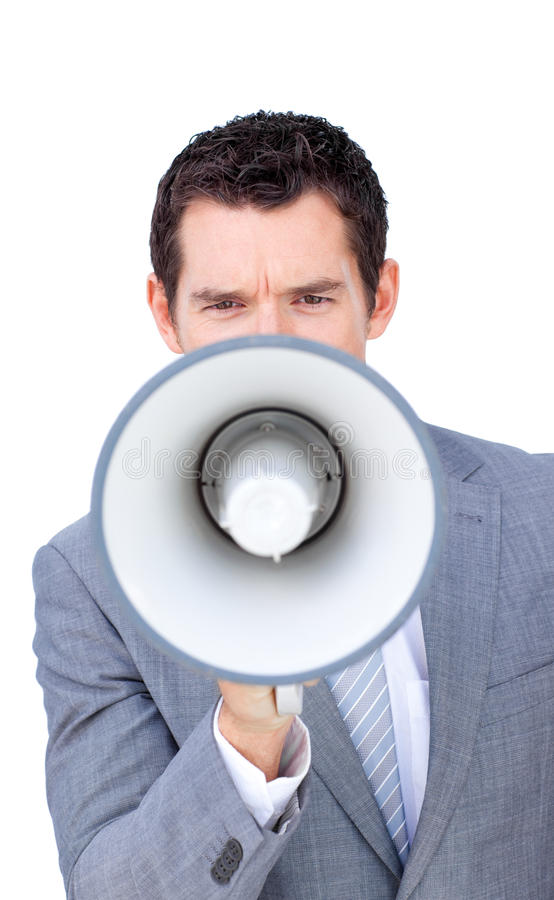Download Angry Businessman Shouting Through A Megaphone Royalty Free Stock Photo - Image: 12617845