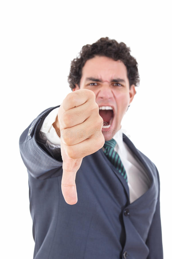 Angry businessman showing thumb down gesture as rejection symbol stock photos
