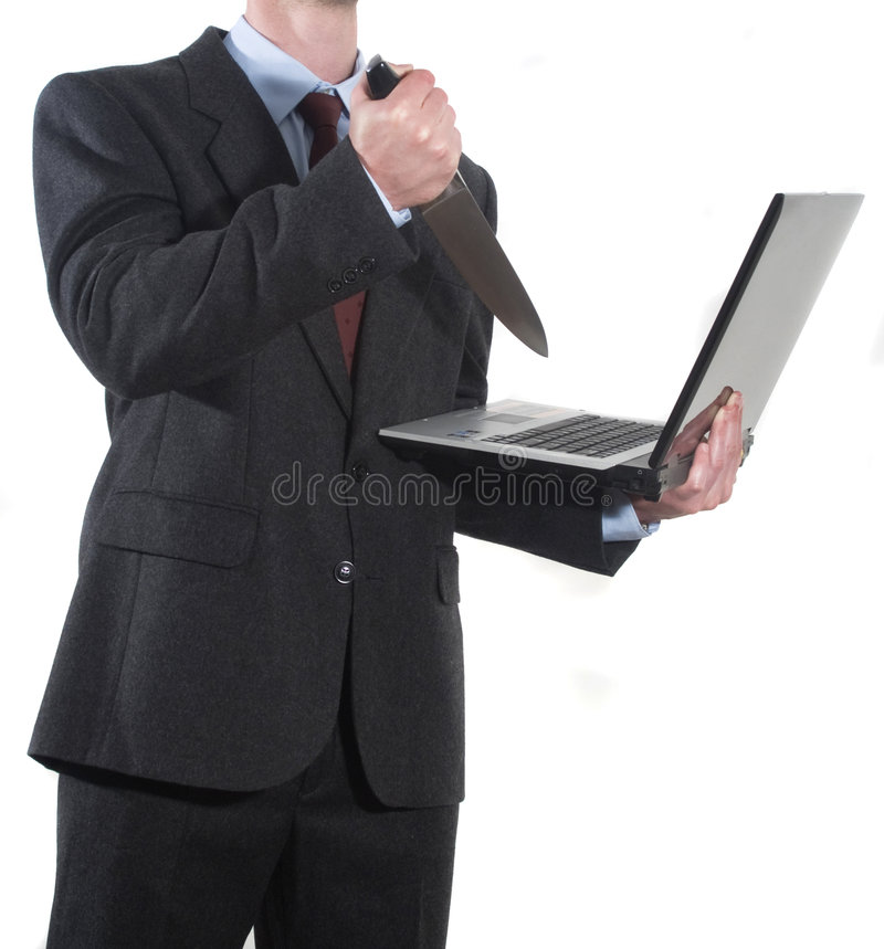 Free Angry Businessman Stabbing Notebook With A Knife Royalty Free Stock Photo - 9366005