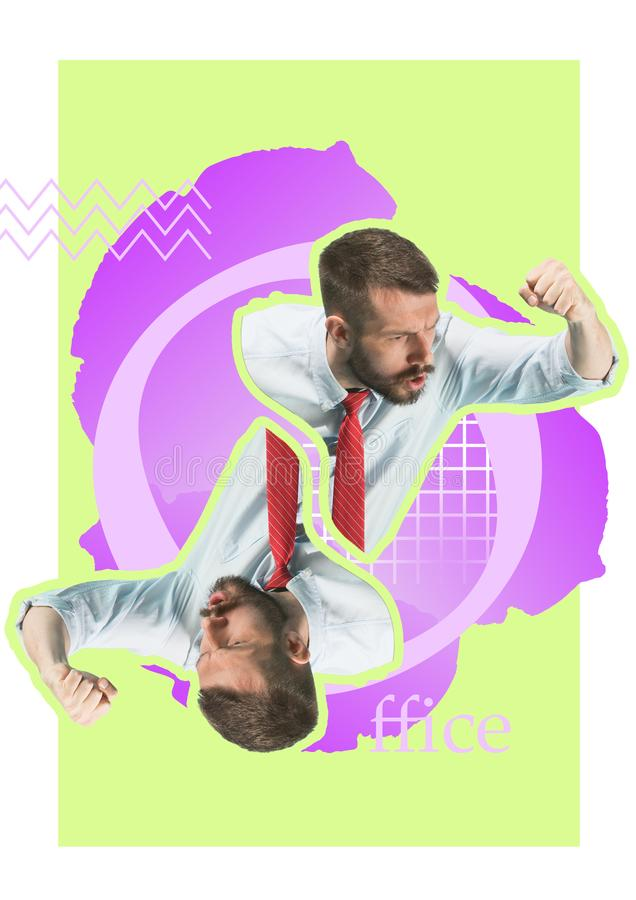 Angry businessman threaten with a fist. Contemporary modern art collage about angry businessman threaten with a fist. Conceptual buisness image vector illustration