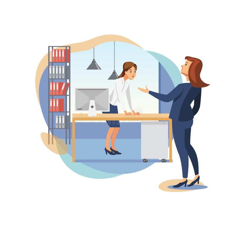 Female Boss Scolding Office Worker Flat Vector royalty free illustration