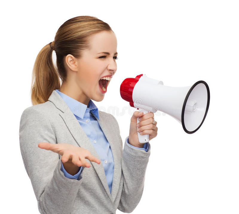 Angry businesswoman with megaphone. Business, communication and office concept - angry businesswoman with megaphone stock photo