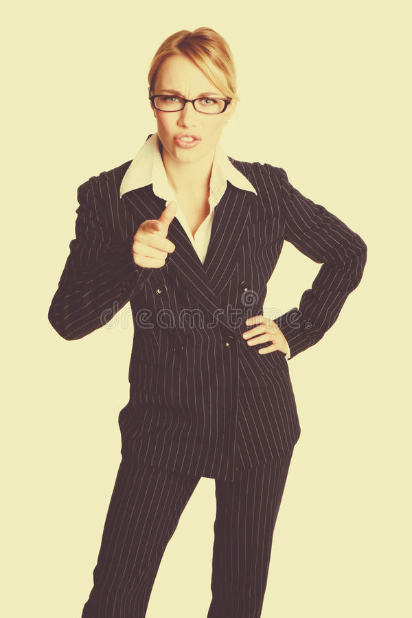 Angry Businesswoman Pointing royalty free stock photo