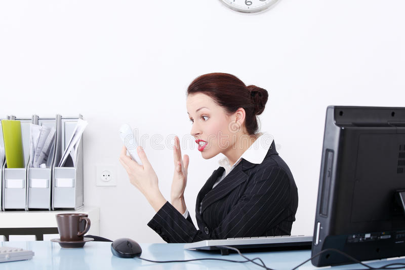 Download Angry Businesswoman Screaming To Phone. Stock Photo - Image: 21692750