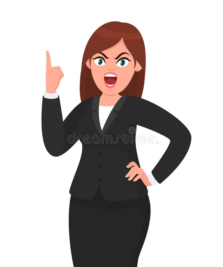 Angry businesswoman shouting or screaming with raising hand showing index finger. Human emotion and body language concept. vector illustration