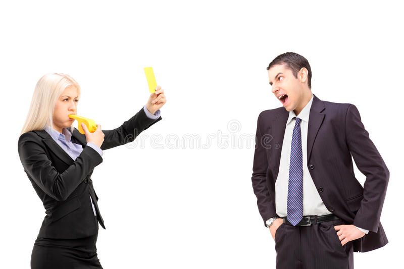 Download Angry Businesswoman Showing A Yellow Card To A Businessman Shout Stock Image - Image: 30404351