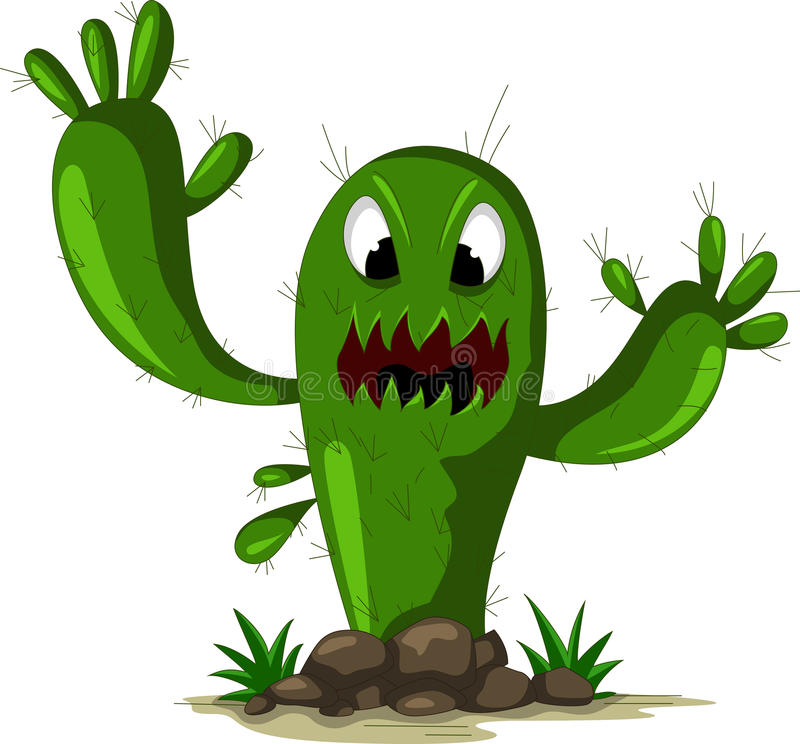 Angry cactus royalty free illustration
