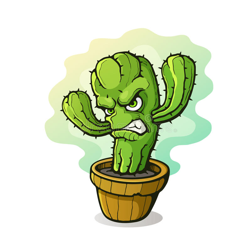 Angry cactus in a flowerpot. Vector illustration. Angry thorny cactus clenched teeth from anger in a flowerpot. Cartoon character with contour. on white vector illustration