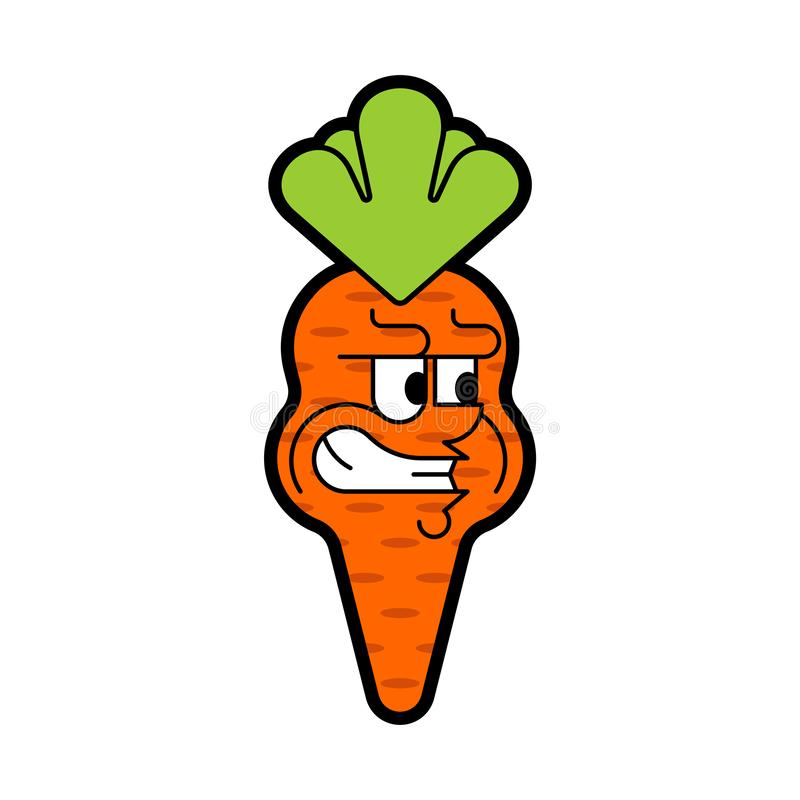 Angry carrot isolated. Evil vegetable. Vector illustration.  royalty free illustration