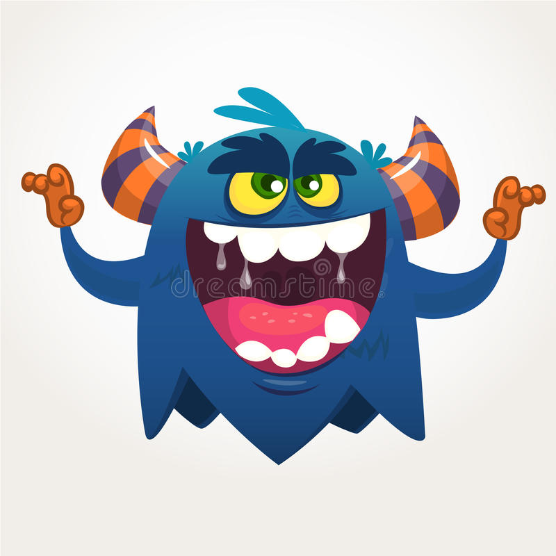 Angry cartoon black monster screaming. Yelling angry monster expression. Halloween vector illustration. Angry cartoon black monster screaming. Yelling angry stock illustration