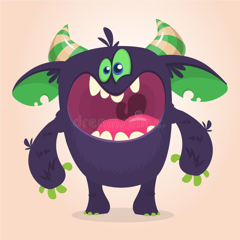 Angry cartoon black monster screanimg. Yelling angry monster expression. Big collection of cute monsters. Halloween character. Vector illustrations. Good for vector illustration
