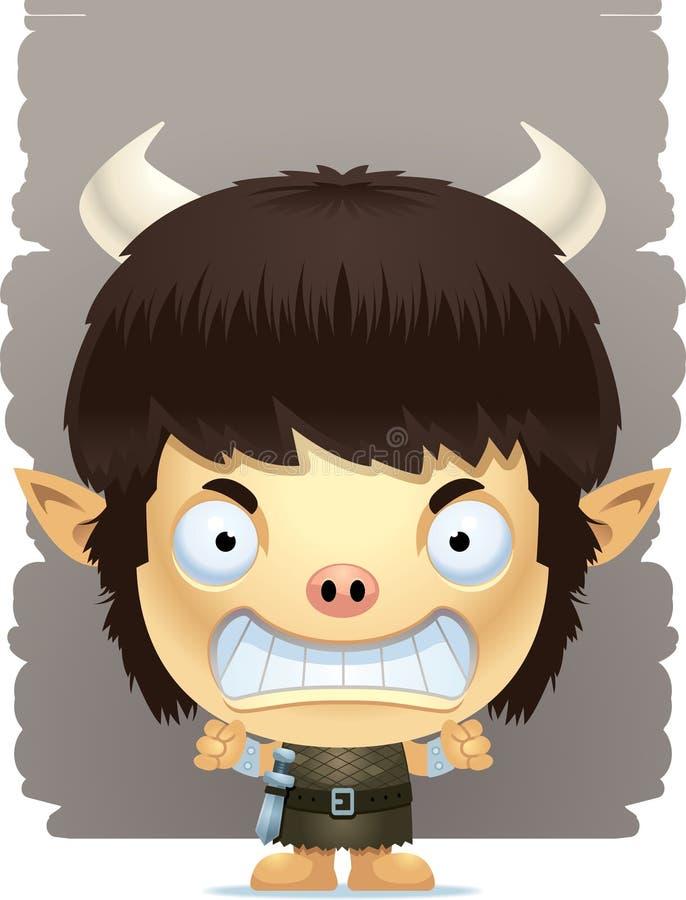 Angry Cartoon Boy Ogre royalty free illustration