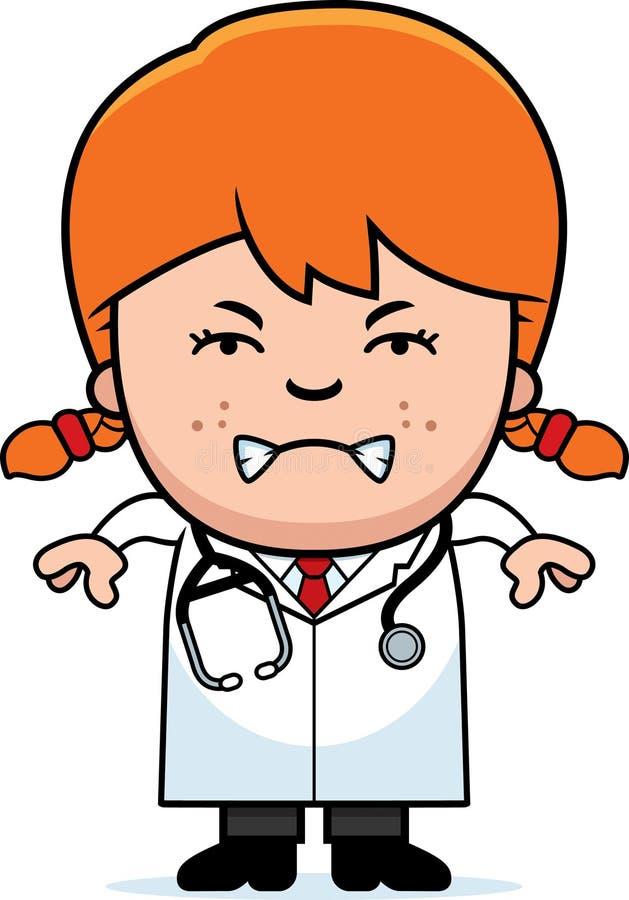 Angry Cartoon Child Doctor. A cartoon illustration of a child doctor looking angry vector illustration