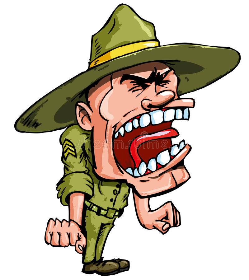 Angry Cartoon Drill Sergeant Royalty Free Stock Image