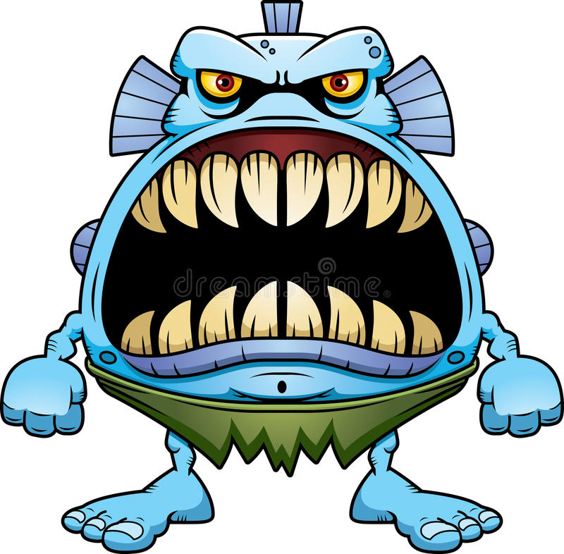 Angry Cartoon Fish Creature stock illustration