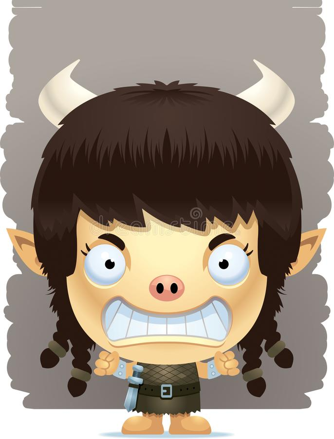 Angry Cartoon Girl Ogre royalty free illustration