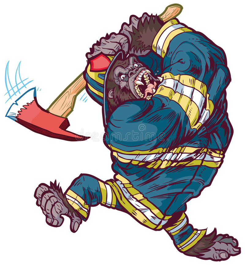 Angry Cartoon Gorilla Firefighter Swinging Fire Axe royalty free illustration