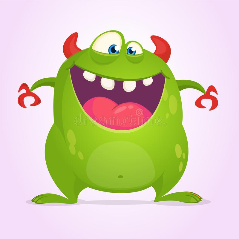 Angry cartoon green monster. Vector illustration of monster character for Halloween. vector illustration