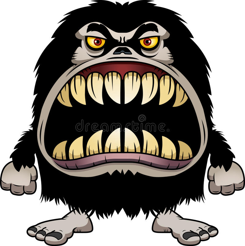Angry Cartoon Hairy Monster royalty free illustration