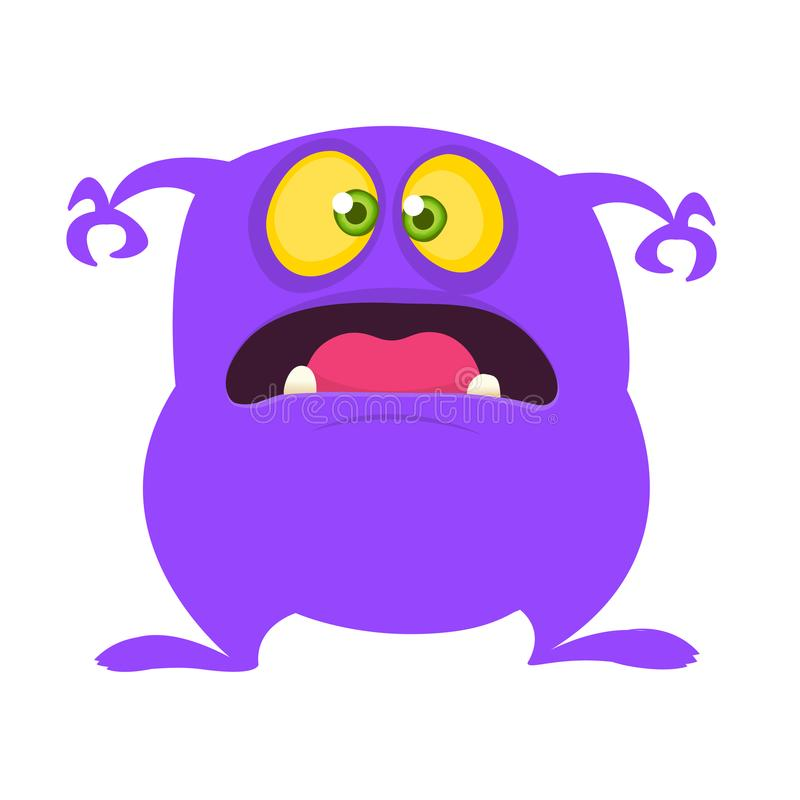 Angry cartoon monster with a big smile. Vector Halloween purple monster illustration. Design for children book, sticker, print or party decoration royalty free illustration