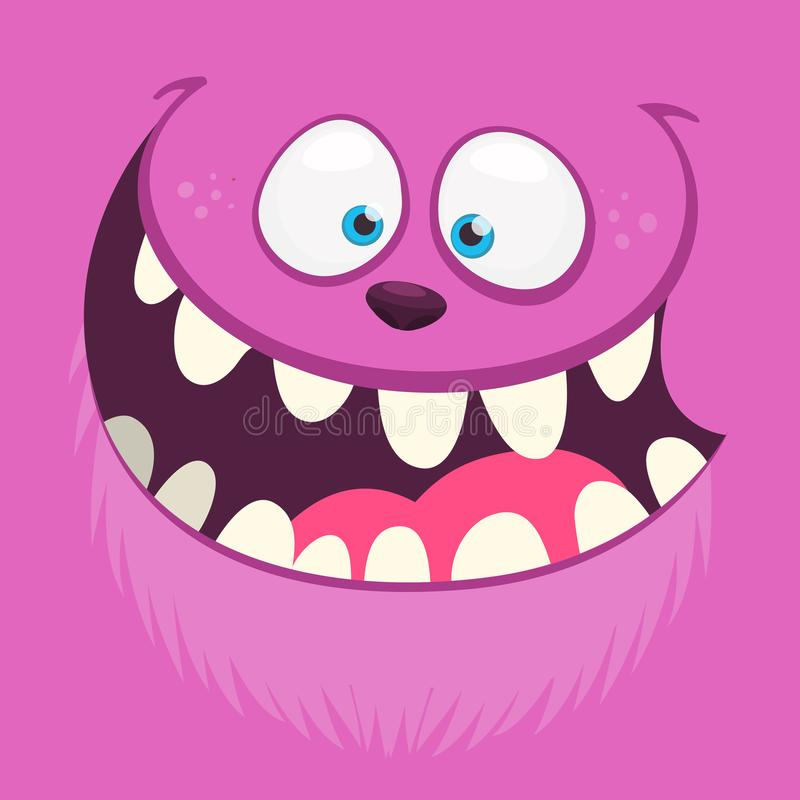 Angry cartoon monster face with a big smile. Vector Halloween pink monster illustration. Angry cartoon monster face with a big smile. Vector Halloween pink vector illustration