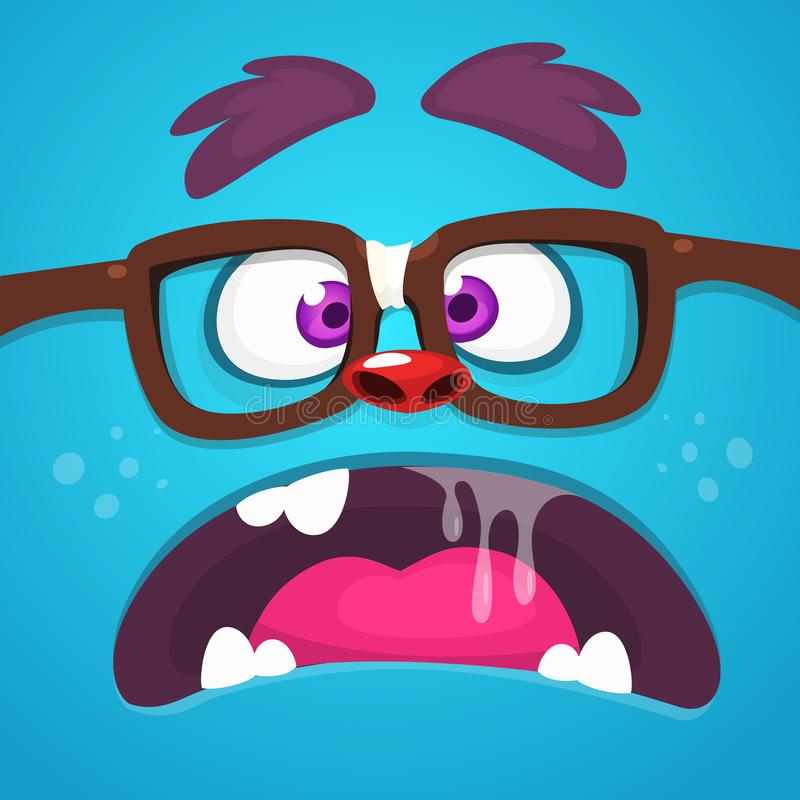 Angry Cartoon Monster Face With Eyeglasses yelling or talking. Vector Halloween monster square avatar. Angry Cartoon Monster Face With Eyeglasses yelling or royalty free illustration