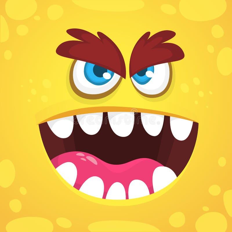 Angry cartoon monster face. Vector Halloween orange monster avatar. Design for print, children book, party decoration. Angry cartoon monster face. Vector vector illustration