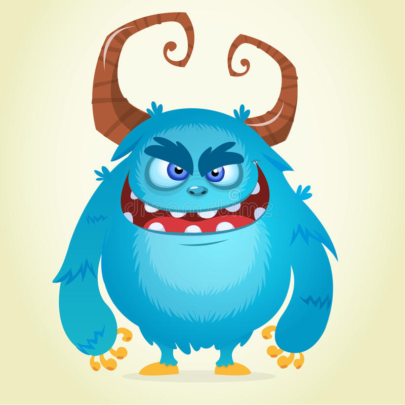 Angry cartoon monster. Halloween vector blue and horned monster royalty free illustration