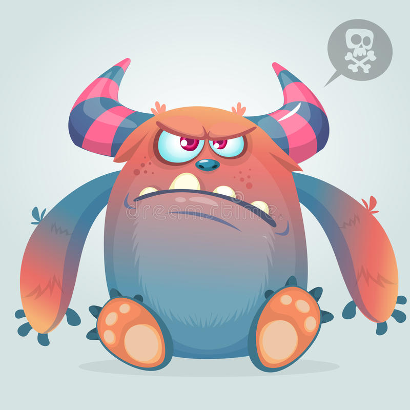 Angry cartoon monster. Halloween vector illustration stock illustration
