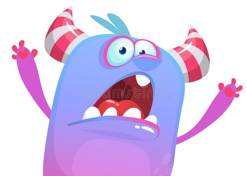 Angry cartoon monster icon trying to scare. Vector Halloween illustration. stock illustration