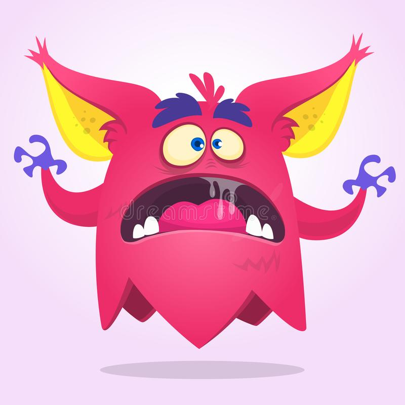 Angry cartoon monster pink with big ears. Vector illustration.  royalty free illustration