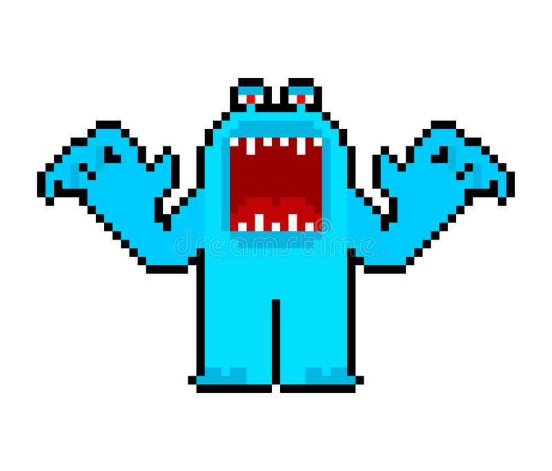 Angry cartoon Monster pixel art with open mouth. Vector 8 bit royalty free illustration