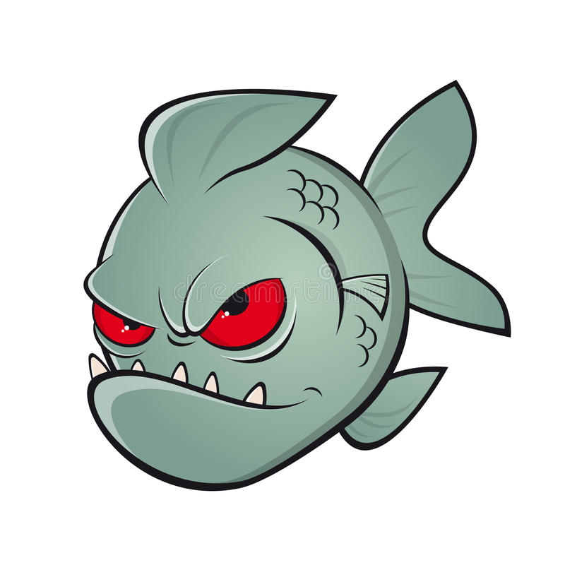 Angry cartoon piranha vector illustration